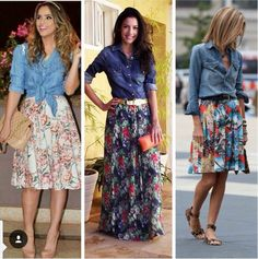 printed long skirt with denim shirt //// style fashion what to wear how ideas idea fashion spring summer 2014 look outfit outfits Maxi Skirt Outfits, Dress Skirt, Maxi Dresses, Maxi Skirt Outfit Summer, Long Skirt Outfits For Summer, Blouse Dress, Mode Outfits, Fashion Outfits, Womens Fashion