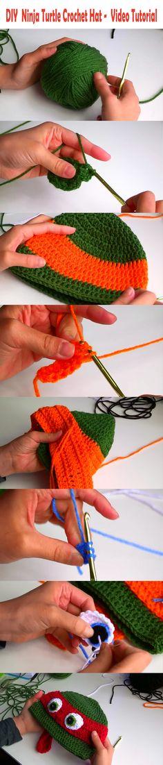 How to make a DIY Crochet Ninja Turtle hat - Step by step Video Tutorial