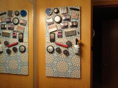 In an effort to free up my bathroom counter, I decided to make my own magnetic makeup board. I started with two magnetic marker boards you can buy for around $5 a piece. Covered them with fabric that I love, with a thin coat of glue, and then attached magnets to the back of my makeup. Love it! So easy to use, and out of the way from my kids little hands.