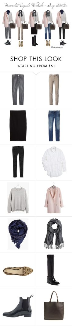 """Minimalist Wardrobe - Gray Sweater"" by bluehydrangea ❤ liked on Polyvore featuring J.Crew, Siviglia, MANGO, Gap, Madewell, Just Female, Adrienne Vittadini, Cole Haan, women's clothing and women's fashion"