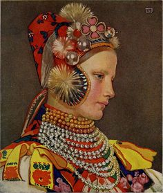Slovak Girl in Sunday Attire, 1909 by Marianne Stokes on Curiator, the world's biggest collaborative art collection. Pop Art, Art Magique, Religious Paintings, Pre Raphaelite, Art Moderne, Impressionist, Art Nouveau, Illustration Art, Tinkerbell