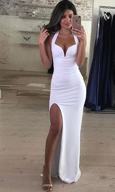 Sexy Halter Fitted Formal Evening Gown,White Prom Dress With Side Slit