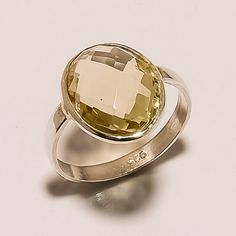 925 SOLID STERLING SILVER MARVELOUS SHINY FACETED CITRINE LIGHT WEIGHT RING SZ 7 #925silverrocks