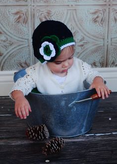 """Beanie Hat Crocheted """"The Oksana Lily"""" Navy, Emerald, White,  Choose your Size/Color Trendy Flower Trim on Etsy, $21.00 CAD"""