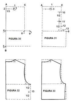 Molde Talle espalda básico niño Pattern Blocks, Bodice, Patterns, Molde, Sewing Basics, Couture Facile, Kids Pants, Sew, Atelier