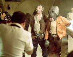 Filming the fight scene in the cantina for Star Wars