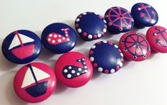 Dresser Knobs Hand Painted in Pink and Navy Blue with Sail Boat, Whale, Wheel and Anchor on Etsy, $6.00