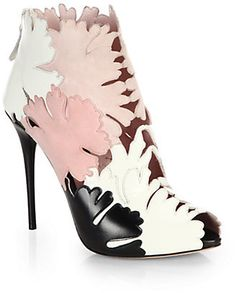 Alexander McQueen Suede & Leather Flower-Paneled Cutout Booties