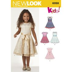 New Look Pattern 6359 Child's Dresses with Lace and Trim Details