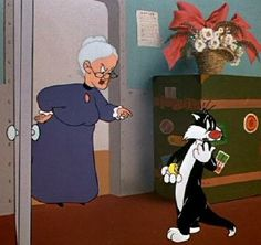 Granny and Sylvester Looney Tunes Cartoons, 90s Cartoons, Cartoon Books, Cartoon Characters, Sylvester The Cat, Merrie Melodies, Old School Cartoons, Nostalgia, Saturday Morning Cartoons