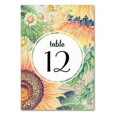 Rustic | Country Sunflowers and Wildflowers Watercolor Painting Design with kraft paper effect background Personalized Wedding Table Number Cards. Matching Wedding Invitations, Bridal Shower Invitations, Save the Date Cards, Wedding Postage Stamps, Bridesmaid To Be Request Cards, Thank You Cards and other Wedding Stationery and Wedding Gift Products available in the Rustic Design Category of the Best Day Ever store at zazzle.com