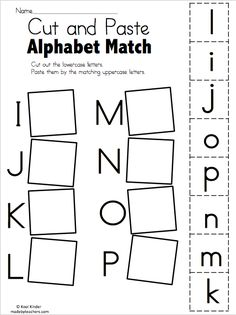 Alphabet Match I to P - Free Worksheets Cut and paste the matching uppercase and lowercase letters. More Alphabet Match Worksheets Alphabet Match A to… Preschool Learning Activities, Free Preschool, Preschool Printables, Preschool Worksheets, Free Worksheets, Matching Worksheets, Preschool Homework, Preschool Fall Crafts, Free Alphabet Printables