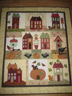 pretty fall houses quilt