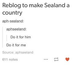 YEAH LETS GO DO IT FOR SEALAND