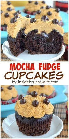 Mocha Fudge Cupcakes - chocolate mocha cupcakes with a hidden hot fudge pocket and topped with a coffee butter cream frosting. Instead of making a chocolate ganoche, save time by using hot fudge syrup like the baker does here. Cupcake Recipes, Baking Recipes, Cupcake Cakes, Dessert Recipes, Baking Ideas, Cupcake Art, Cupcake Ideas, Cup Cakes, Snack Recipes