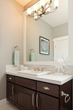 kid's bathroom: dark cabinets, white countertops, gray walls