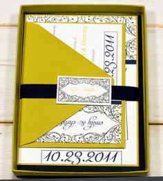 Doodle Frame Whimsical Navy and Chartreuse by LemonSquareDesigns, $100.00