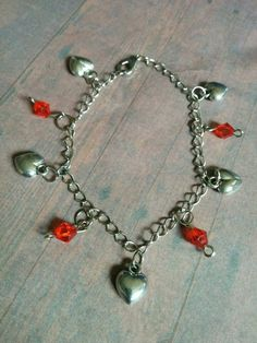Heart Charm bracelet with red crystal beads - jewelry - jewellery - love - romantic - gifts - women's jewelry - girly - romance - jewlery by Blackrose37 on Etsy