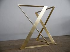 """28"""" X-frame Flat Brass Table Legs, 20"""" Wide, Height 26"""" To 30"""" Set(2)"""
