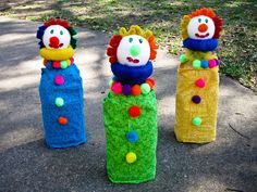 Make clowns from plastic juice bottle (filled with 1/3 water) covered with fabric, Styrofoam ball (decorated with pom poms and pipe cleaners). Kids throw balls and try to knock over the clowns.