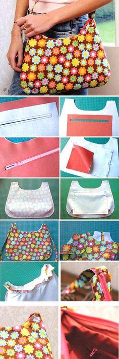 Bag with zipper. Sew Tutorial http://www.handmadiya.com/2015/07/bag-with-zipper.html