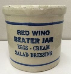 Antique Red Wing Mason Stoneware Beater Jar No Advertising #RedWing