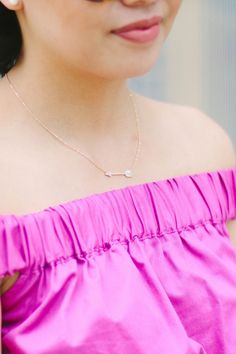 Swarovski Jewelry donated to people diagnosed with cancer \\ Off the shoulder dress, dresses with pockets,  Fashion for Good, Jewelry with a Purpose, Cancer Awareness, Giving Back, Spring Fashion, Spring outfit, Giveaway