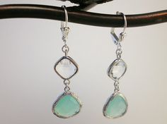 Light Blue Crystal and Silver Earrings. $33.00  http://www.etsy.com/shop/FrenchRobinDesigns?ref=si_shop