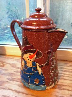 Fall coffee | Fall / Winter painted coffee pot | Granite Ware