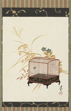Cricket cage 柴田是真筆 秋草に虫籠図. Shibata Zeshin (Japanese, 1807-1891) 1807-1891. Hanging scroll. Lacquer on paper. Asian Art Museum.