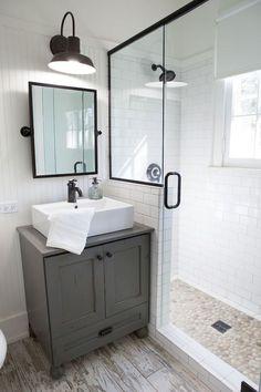 150 stunning small farmhouse bathroom decor ideas and remoddel to inspire your bathroom Modern Farmhouse Bathroom, Farmhouse Ideas, Farmhouse Style, Upstairs Bathrooms, Bathroom Renos, Bathroom Cabinets, Bathroom Vanities, Decor Ideas, Decorating Ideas