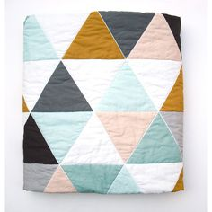 Modern Geometric Baby Quilt in Mint and Multi Color Triangles for Boy... (8.435 RUB) ❤ liked on Polyvore