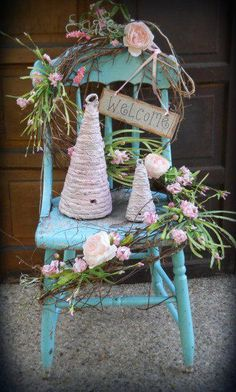 Shabby Chic Pink Bee Hives & Cottage Rose Blue Reclaimed Chair