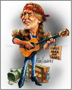 Willie Nelson Limited Edition Celebrity Caricature by Don Howard by DonHowardStudios on Etsy