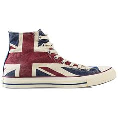 Converse All Star Union Jack Hi ($85) ❤ liked on Polyvore featuring shoes, sneakers, converse, sapatos, zapatos, everyday shoes, multicoloured, womens-fashion, multicolor sneakers and multi color shoes