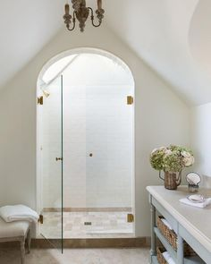 Arched shower door