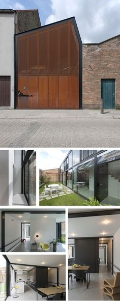 Simple and clean. architectuuratelier - house AWVP, Bruges area (B): Minimal Architecture, Facade Architecture, Beautiful Architecture, Residential Architecture, Steel Building Homes, Building A House, Small Buildings, Facade Design, Industrial House