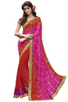 #Pink And Red Color Half n Half Party Wear #Georgette #Saree $-16