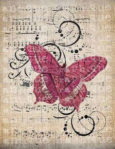 Antique European Butterfly PINK music Illustration Digital Download for Papercrafts, Transfer, Pillows, etc Burlap No 6179: