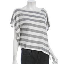 Wyatt     grey and linen striped flutter panel asymmetrical t-shirt