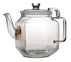 Interestingly shaped glass tea pot.   This is a must for teapot collectors! It's gorgeous! How 'bout some Earl Grey or African Red Bush Tea. The benefits are great! I'll just take 2 scones with mine!