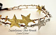 Stars and Berries Hair Crown. Hair Accessories, Winter. Wedding Tiara. glitter, Silver. Gold. Star, Stardust,Twinkle. New Years Accessory