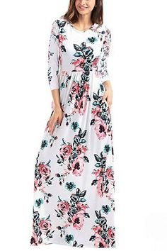 Classic 3/4 Sleeve Floral Print White Maxi Dress modeshe.com #White #design #dresses #dress #beautiful #style