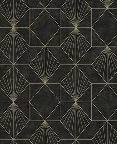 Halcyon Black Geometric Wallpaper Halcyon Black Geometric Wallpaper,Art Deco This shimmering wallpaper has a chic black and gold print. Gold geometric lines converge to form art deco inspired shapes. Flecks of gold are scattered. Wallpaper From The 70s, Wallpaper Art Deco, Pattern Wallpaper, Black Wallpaper, Geometric Wallpaper Background, Trendy Wallpaper, Pretty Wallpapers, Wallpaper Wallpapers, Iphone Wallpapers