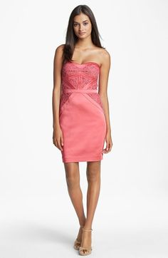 Aidan Mattox Embellished Lace Strapless Sheath Dress | Nordstrom