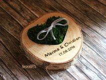 Ringkissen Holz, eingel.Moosherz,inkl. Gravur [15]