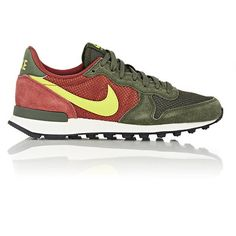 Nike Internationalist Sneakers featuring polyvore, fashion, shoes, sneakers, grey, mesh shoes, lace up shoes, mesh sneakers, nike footwear and nike trainers