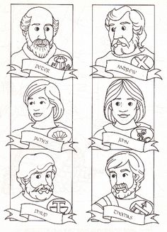 12 disciples pic with names & shields; could these become name tags for Mock Last Supper?