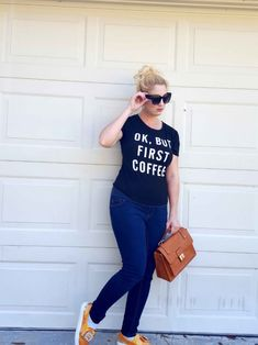 OK, BUT FIRST COFFEE .Another outfit of the day, river island sneakers and justfab handbag. #fashion #styleblog #style #graphictee #justfab #asos #shoes #handbag #OOTD