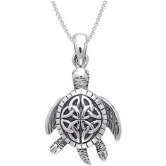 Carolina Glamour Collection Sterling Celtic Turtle Necklace, Men's